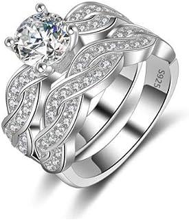 خاتم زواج مطلي ذهب ابيض مرصع باحجار الزركون