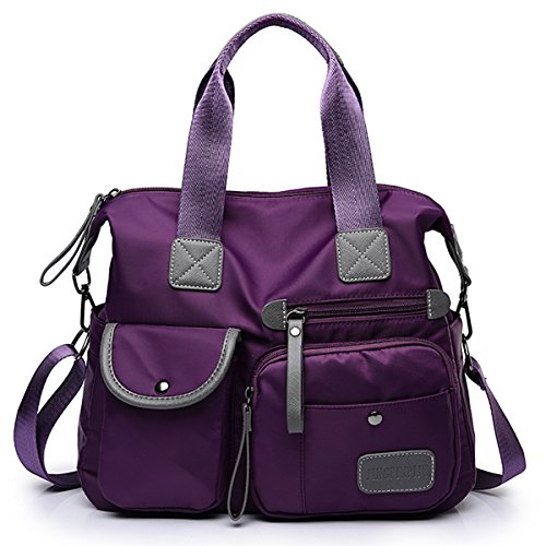 Women's Shoulder Bags, Gracosy Fashion Nylon Waterproof Cross Body Bag Oxford Fabric Sling Bag, Multifunctional Travel Outdoor Mummy Handbag Purple 13.3×18.8×5.1 inch
