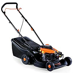 FUXTEC petrol lawn mower FX-RM1630 with 40 cm and solid catcher 5-fold height adjustment particularly light and agile