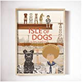 Mural Wes Anderson Movies Isle Of Dogs Canvas Painting Set Retro Poster And Prints Abstract Wall Art Pictures For Living Room Home Decor-20X28In No Frame