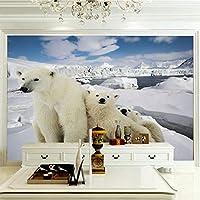 ZCLCHQ 3d壁画壁纸防水 白ホッキョクグマ 写真の壁紙和風3Dカスタム大壁画レストラン背景ドロップ手塗りHd SIZE:150x130cm