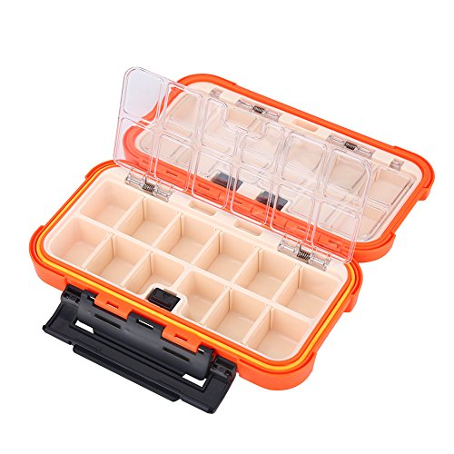 VGEBY1 Caja de Almacenamiento de Pesca, 24 Ranuras Cajas de Aparejo de Aparejos de Pesca Cebo de Pesca Impermeable Contenedores de Almacenamiento de Equipo de Pesca(Naranja)