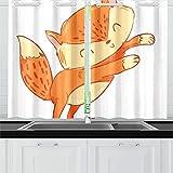 Zemivs Amarillo Naranja Lindo Zorro Animal Cocina Cortinas Cortinas de Ventana Niveles para café baño lavandería Sala de Estar Dormitorio 26x39 Pulgadas 2 Piezas