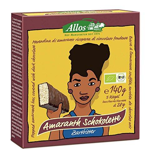 Baton amarantusowy w gorzkiej czekoladzie BIO 140 g (5 szt.) - Allos