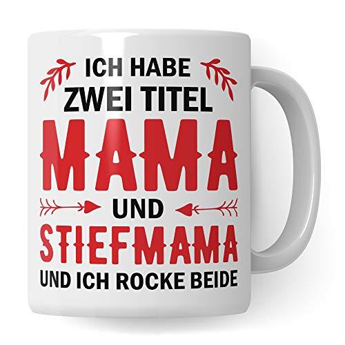 Pagma Druck Tasse Stiefmutter Geschenk, Stiefmama Spruch Becher Geschenkidee, Kaffeetasse Bonus Mama (Weiß/Weiß)