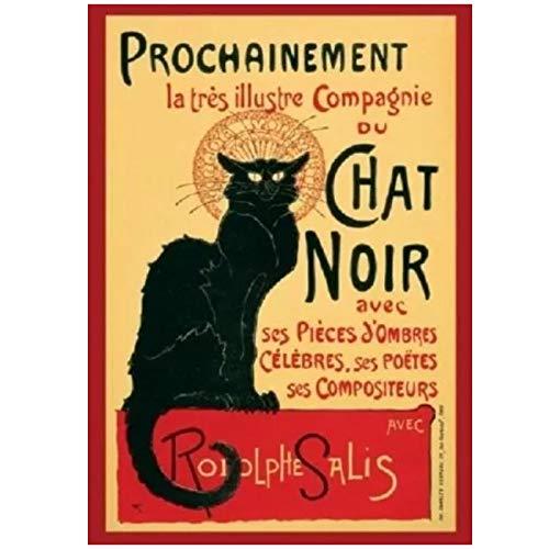 ADNHWAN Le Chat Noir Rodolphe Salis Tour Giant French Cat Poster and Prints Arte de la Pared Pintura en Lienzo para la decoración de la Pared del hogar -50X70cm Sin Marco 1 PCS