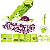 Vegetable Chopper - Shan gui Spiralizer Vegetable Slicer - Grater 12 in 1 Vegetable Cutter & Vegetable Slicer - Food Chopper Dicer with 8 Blades