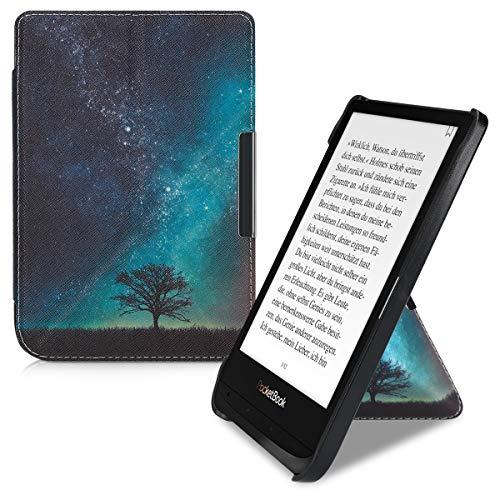 kwmobile hoes compatibel met Pocketbook Touch Lux 4/Lux 5/Touch HD 3/Color (2020) – Hoesje voor ereader in blauw/grijs…