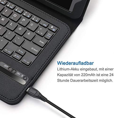Jelly Comb Samsung Galaxy Tab A 10.1 Zoll 2016 Tastatur Hülle, Bluetooth Keyboard Case Wiederaufladebarer Tablet Tastatur für Samsung Tab A 10.1 Zoll, QWERTZ Deutsches Layout, Schwarz