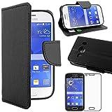 ebestStar - Coque Compatible avec Samsung Ace 4 Galaxy SM-G357FZ Etui PU Cuir Housse Portefeuille Porte-Cartes Support, Noir +Film Protection écran Verre Trempé [Appareil: 121.4 x62.9 x10.8mm 4.0'']