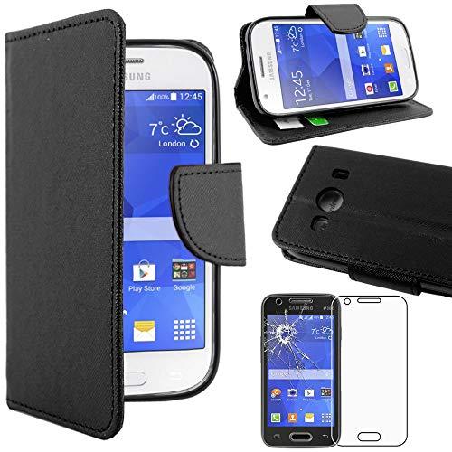 ebestStar - kompatibel mit Samsung Galaxy Ace 4 Hülle SM-G357FZ Wallet Hülle Handyhülle [PU Leder], Kartenfächern Standfunktion, Schwarz +Panzerglas Schutzfolie [Phone: 121.4x62.9x10.8mm 4.0