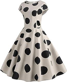 COZOCO Vestido de La Sra. Hermosa Punto, Elegante impresión de impresión Retro, Cintura y Vestido Grande