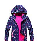M2C Girls Hooded Outdoor Softshell Stars Pattern Windproof Active Jackets with Composite Mesh (Purple, 6/7)