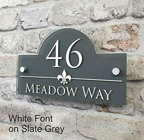 MLL Hausnummer Plaketten Anpassen personalisierte Adresse Plaketten & Hausnummer Zeichen Tür & Eigentum Namensschilder (Farbe: Grau, Größe: 150x250mm)