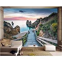 Iusasdz カスタム壁紙ホーム装飾壁画海岸ビュー3D背景リビングルーム寝室テレビ背景壁画3D壁紙-250X175Cm