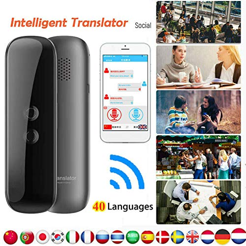 Smart Voice Translator Portable Two-Way Real Time 40 Languages Translation Machine Wireless Bluetooth Remote Connection (Black)