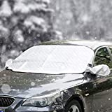 CMP Car Windshield Winter Snow Cover 2019 Upgraded Waterproof Windscreen Snow Ice UV Frost Leaves Protector Thicker 4 Layers Magnetic Edge Protection Extra Large Fits Most Cars Trucks Vans SUVs
