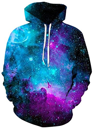 AMOMA 2018Design Jungen Digitaldruck Kapuzenpullover Fashion Hoodie for Herren und Damen (Small/Medium, Interstellar)