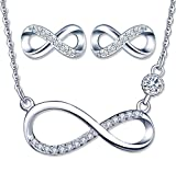 Conjuntos de joyas de plata 925, conjunto de collar con símbolo de infinito con circón brillante, aretes lindos, circón con incrustaciones, joyas para mujer niña, regalo de Navidad y cumpleaños