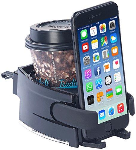 Lescars Getränkehalter Auto: 2in1-Getränke- und Smartphone-Halterung für Kfz-Lüftungsgitter (Universal Getränkehalter Auto)