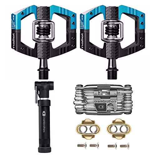 Crank Brothers Mallet Enduro MTB Mountain Bike Pedals (Blue/Black) w/Cleats, M19 Multi Tool and Gem Pump Kit