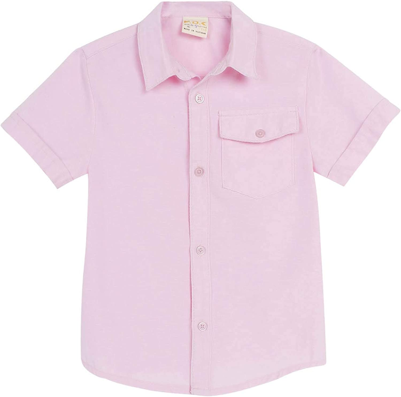 M.D.K Boys Short Sleeve Button Down Semi Formal Casual Pocket Collar Shirt