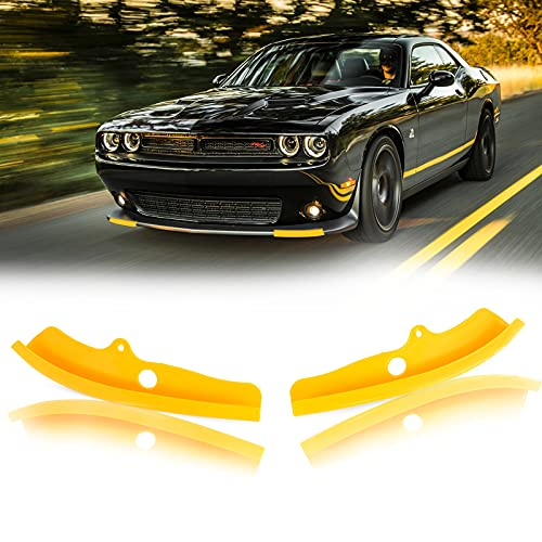 AUXMART Front Bumper Lip Splitter Protector Compatible with Dodge Challenger Scat Pack R/T GT SRT, Yellow
