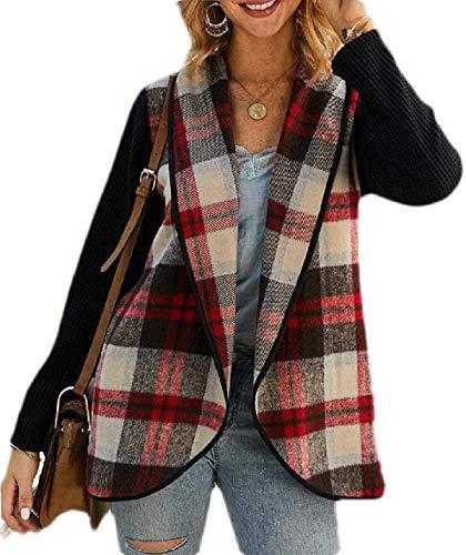 Skxusidhus Womens Lapel Lightweight Checked Open Front Basic Cardigan Jacket
