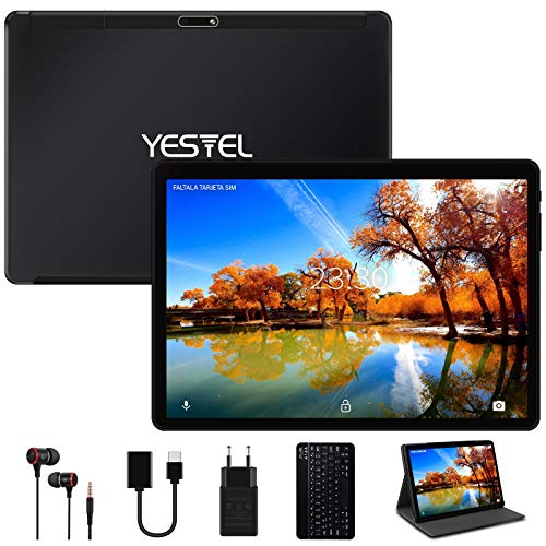 YESTEL Tablet 10 Pollici con WiFi Android 10.0 Originale 4GB RAM + 64GB ROM con Schermo IPS HD Quad Core Tablet PC | Fotocamera 5MP + 8MP | Dual LTE SIM | Tablets con Tastiera - Nero