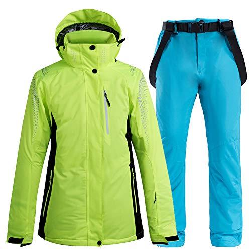 Mltdh Sci Completo, Snowboard All'aperto E Donna Uomini Top E Pantaloni da Sci Sportivo Warm Impermeabile Traspirante E Antivento,Greena7,XL
