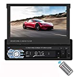 7 Inch Flip-Out HD TFT Touch Screen Manully Pop-Out Screen Single Din Car Stereo with Bluetooth AUX/USB/TF Car FM Radio Receiver MP3/MP4/MP5 Player Support Rear View Camera