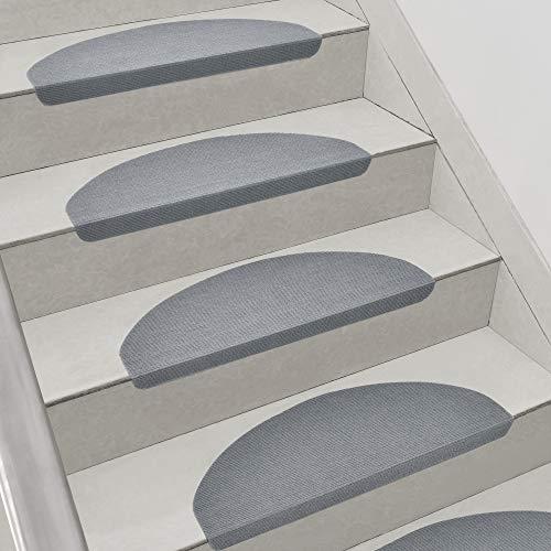 [en.casa] Tappeto per Scala Set di 15 Coprigradini 65 x 23 + 4 cm Antiscivolo Angoli Arrotondati Autoadesivo Grigio