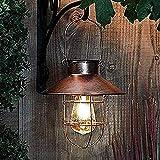 BILINGSLEY Vintage Solarlaterne Außen Hängelampe Metall Solar Gartenlampe mit Shepherd's Hook Hängeleuchte aus Aluguss und Glas für Terrasse, Garten oder Wegbeleuchtung Deko (Kupfer)