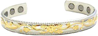 Silver and Gold Plated Copper 6 Magnet Magnetic Therapy Ladies Bracelet 2000 + Gauss Each Magnet