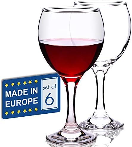 Stemmed Red Wine Glasses Set of 6 All Purpose 12 Oz Lead Free Long Stem Wine Glasses Crystal product image