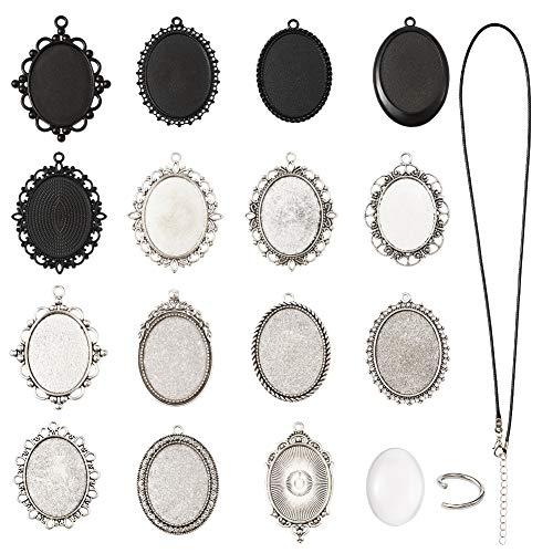 32 piezas de estilos mixtos ovalados con cabujón en blanco y cúpulas de cristal transparente y cordón para hacer joyas fotográficas.