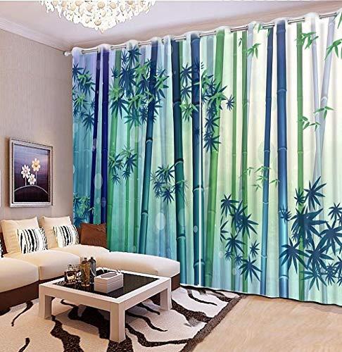 ZKHOME Digitaldruck Hd Schattierung Vorhang Mode 3D Vorhang Blau Bambus Vorhang Wohnzimmer Büro Blackout Schatten Fenster Vorhänge Bad 3D Vorhang Schmücken-(W) 420x(H) 220cm