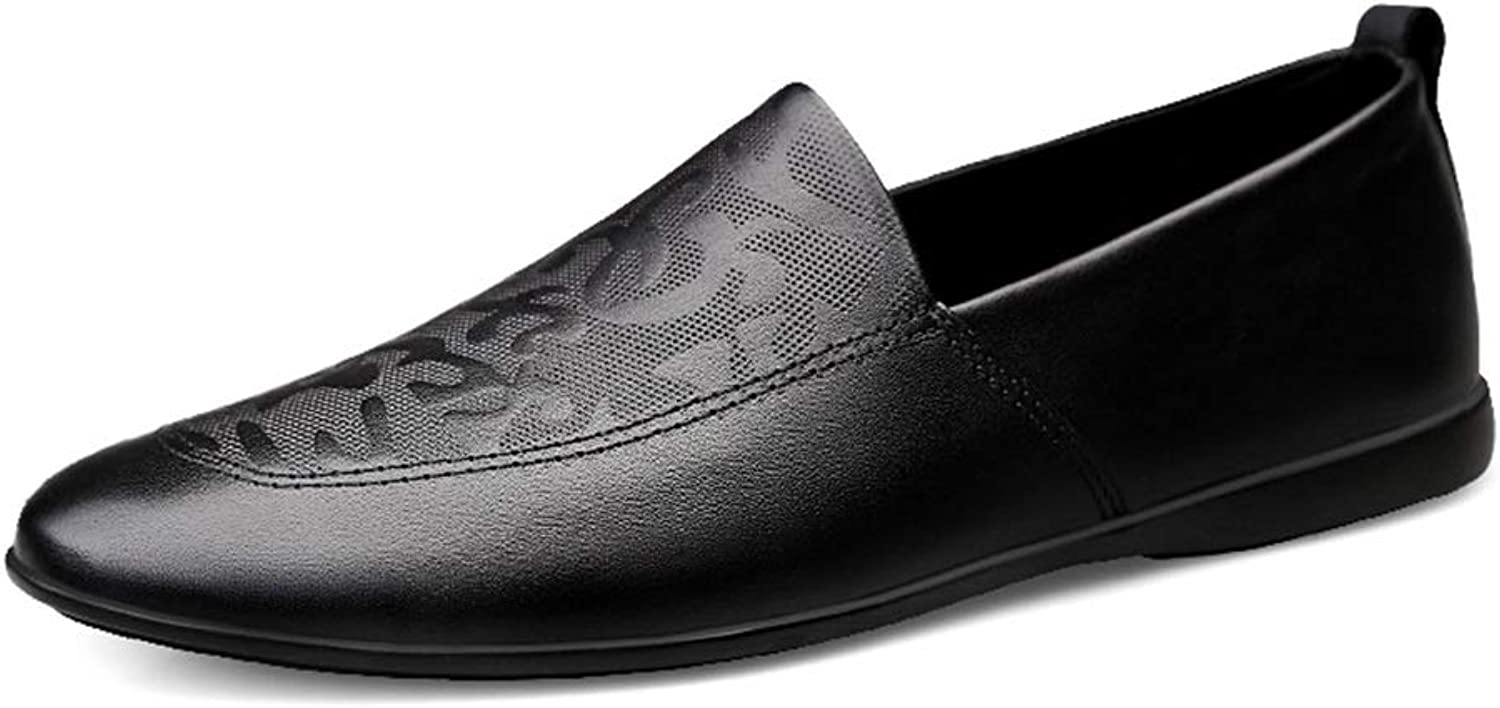 Men's Leather shoes Embossed Penny Loafers Lightweight Breathable Wedding Flat Slip Non-Slip Leather shoes (color   Black, Size   5 UK)