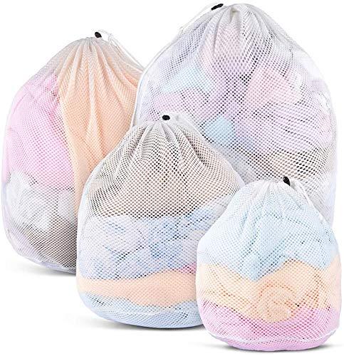 DASFOND Bolsas de Malla de Lavandería Bolsas de Lavado para Ropa Interior, Calcetines,Sujetadores, Camiseta,Ropa de Bebé – Redes de Lavado con Cordón (Blanco, 4 pc)