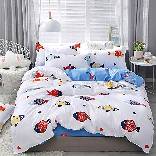 Evvaceo Child Bedding Set 3 Pieces Duvet Cover Simple Cartoon Hand Drawn Pattern 200 Cm X 200 Cm With 2 Pillowcases 3D(Double)