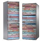 MEGADECOR Vinilo Adhesivo Decorativo para Nevera con Efecto Tablas de Madera Viejas de Colores Gastados, Varias Medidas (185 cm x 70 cm)