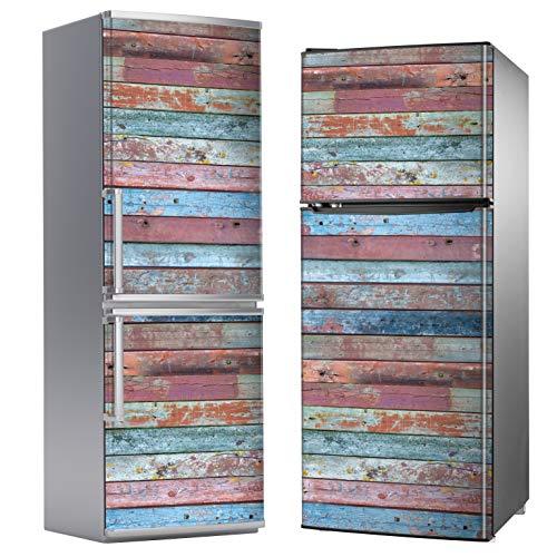 MEGADECOR Vinile adesivo decorativo per frigorifero con effetto assi di legno invecchiato, colori assortiti, varie misure (185 cm x 60 cm)
