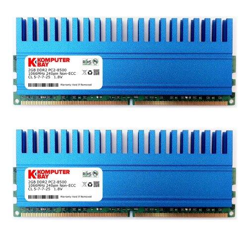 Komputerbay 4GB (2x 2GB) DDR2 DIMM (240 Pin) 1066 MHz PC2-8500 4 GB KIT mit Crown-Serie Wärmeverteiler für zusätzliche Kühlung CL 5-7-7-25