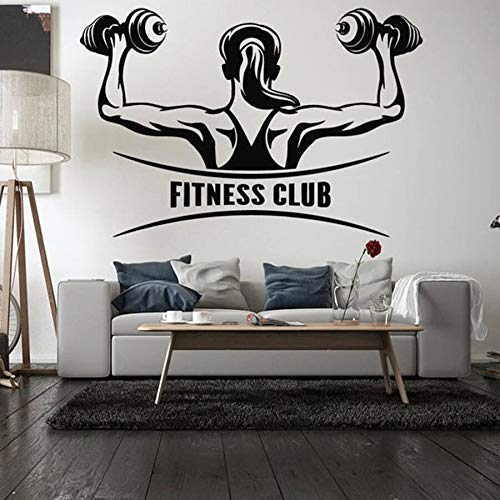 Fitness Club pared calcomanía dormitorio entrenamiento gimnasio vinilo pared pegatina deportes culturismo Interior Art Deco papel tapiz
