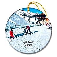 Les Allues フランス The Snow Schoolクリスマスオーナメントセラミックシート旅行お土産ギフト