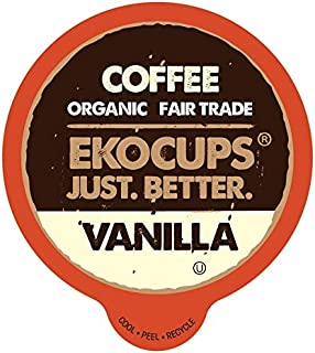 EKOCUPS Artisan Organic Vanilla Flavored Hot or Iced Coffee, Medium roast, in Recyclable Single Serve CUps for the Keurig K Cup Brew