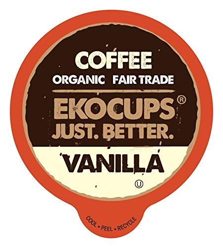 EKOCUPS Fair Trade & Organic Coffee Pods, Vanilla, Medium Roast Coffee for Keurig K Cups Machines, Medium Roast Coffee in Recyclable Pods, 40 Count