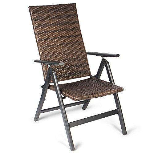 Vanage Polyrattan Gartenstuhl in braun -  Alu Klappstuhl - Hochlehner - Klappsessel - Gartenmöbel - Relax-Sessel für Garten, Terrasse und Balkon geeignet