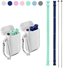Yoocaa Reusable Straws - 2 Pack Portable Metal Straw with Carrying Case and Cleaning Brush, BPA Free, Navy Blue&Green