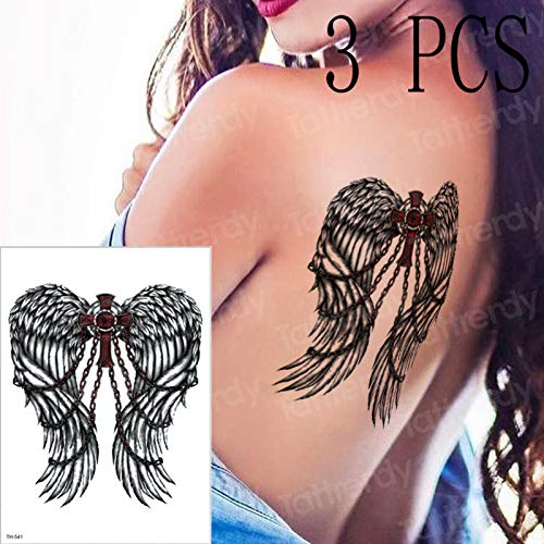 3pcs / Many alas de ángel grilletes Cruz Tatuaje Pegatinas ...